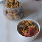 Rhubarb granola and smoothie