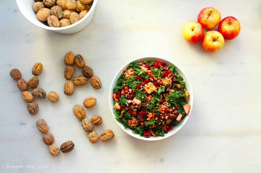 salade kale betterave pomme noix sarrasin raisins